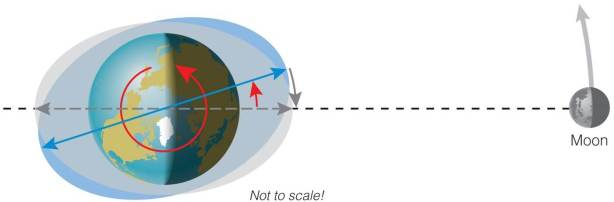 Schematic diagram of Moon and tidal bulges on Earth. (from Pearson, Cosmic Perspective)