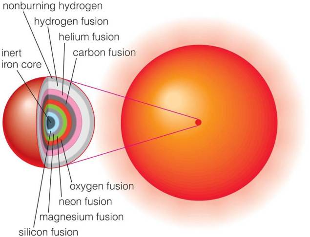 Diagram of star with multiple shells in its core with multiple fusion processes occurring in them