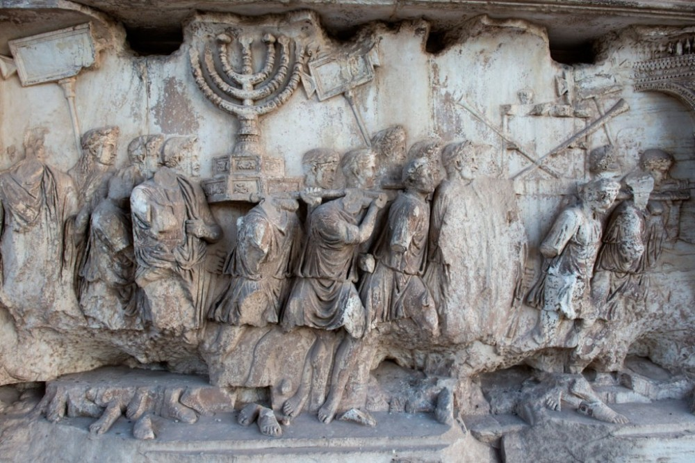The Menorah from the Temple in Jerusalem, depicted on the Arch of Titus in Rome (from http://blogs.yu.edu/news/menorah-myth-busters/)