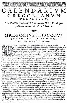 Papal edict, Inter Gravissimas, establishing the Gregorian Calendar, 1582